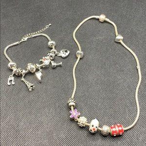 Charms bracelet necklace lot